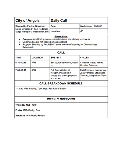 City of Angels Daily Call